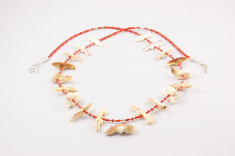 Zuni Ivory & Red Coral Fetish Necklace by Debra Gasper - Turquoise Village - 1