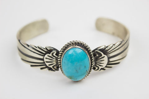 Hand Cast Navajo Silver Bracelet with Turquoise by Wilson Begay - Turquoise Village - 1