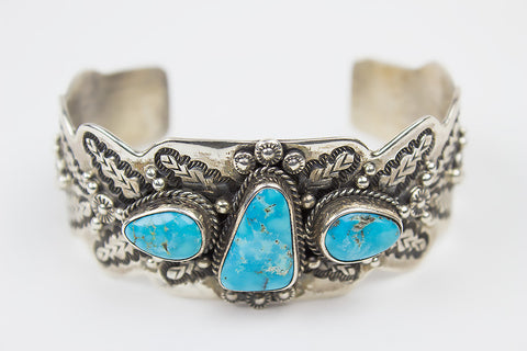 Hand Stamped Navajo Bracelet with Kingman Turquoise by Leonard Chee - Turquoise Village - 1