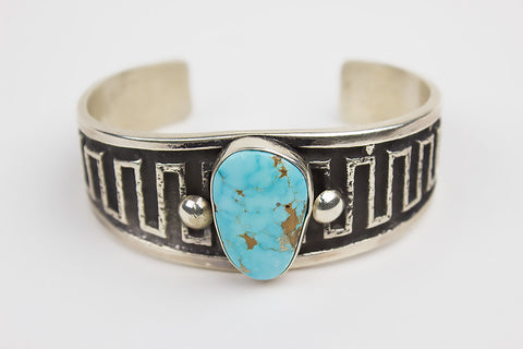 Handmade Navajo Cast Bracelet with Kingman Turquoise by Wilson Begay - Turquoise Village - 1