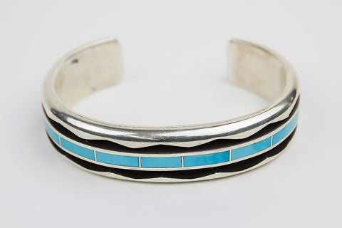 Zuni Channel Inlay Turquoise Cuff Bracelet by Larry Loretto - Turquoise Village - 1