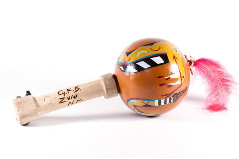 Handmade Zuni Gourd Rattle Featuring Rattlesnake Painting by Gilbert Bowannie - Turquoise Village - 1