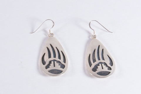 Hopi Overlay Bear Paw and Cloud Design Drop Earrings by Clement Honie - Turquoise Village
