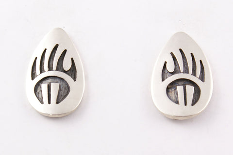 Hopi Overlay Bear Paw Post Earrings by Clement Honie - Turquoise Village