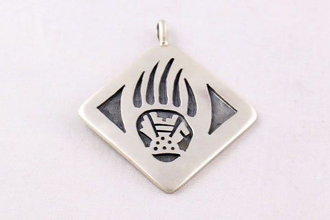 Hopi Overlay Sterling Silver Bear Paw and Prayer Feather Pendant by Ben Mansfield - Turquoise Village - 1