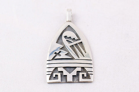 Hopi Overlay Sterling Silver Bear Paw and Pueblo Design Pendant by Ben Mansfield - Turquoise Village - 1