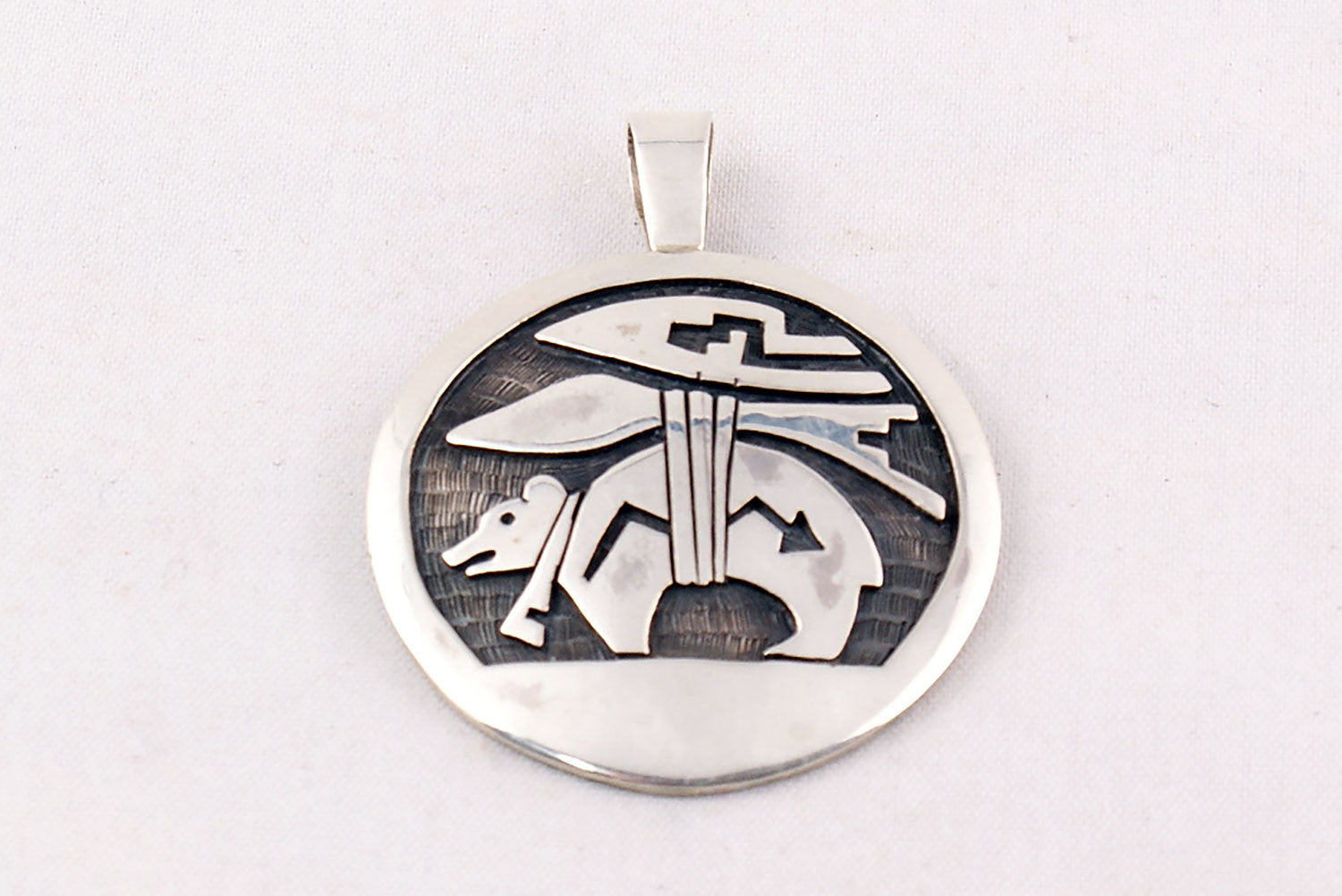 Hopi overlay sterling silver bear pendant by joe josytewa hopi overlay sterling silver bear pendant by joe josytewa turquoise village 1 buycottarizona Gallery