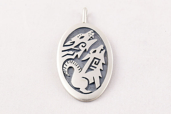 Hopi Overlay Sterling Silver Howling Coyote Pendant By Ben