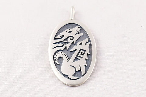 Hopi Overlay Sterling Silver Howling Coyote Pendant by Ben Mansfield - Turquoise Village - 1