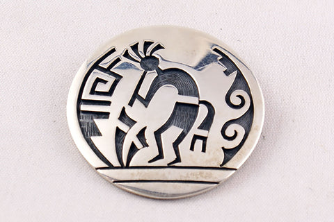 Hopi Overlay Sterling Silver Kokopelli Pin and Pendant by Wilmer Saufkie - Turquoise Village - 1