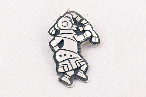 Hopi Overlay Sterling Silver Mudhead Pendant by Clement Honie - Turquoise Village - 1