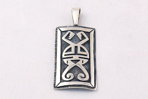 Hopi Overlay Sterling Silver Sunface Pendant by Clement Honie - Turquoise Village - 1