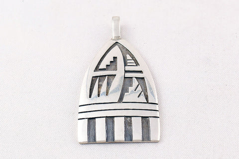 Hopi Overlay Sterling Silver Waterwave and Pueblo Design Pendant by Ben Mansfield - Turquoise Village - 1