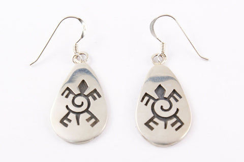 Hopi Overlay Turtle & Waterwave Design Drop Earrings by Clement Honie - Turquoise Village