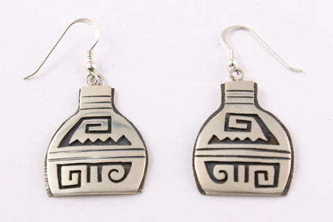 Hopi Overlay Waterwave & Pueblo Design Drop Earrings by Clement Honie - Turquoise Village