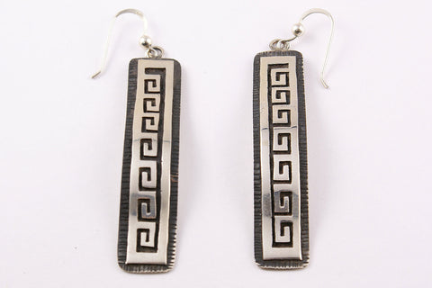 Hopi Overlay Waterwave Drop Earrings by Clement Honie - Turquoise Village