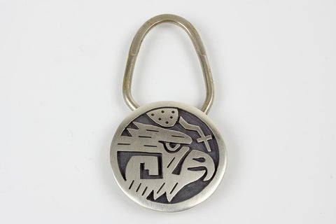 Hopi Sterling Silver Eagle with Cloud Key Ring by Ben Mansfield - Turquoise Village - 1