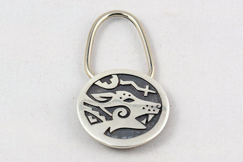Hopi Sterling Silver Overlay Coyote Key Ring by Ben Mansfield - Turquoise Village