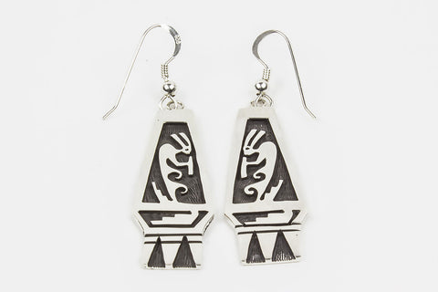 Hopi Overlay Kokopelli Drop Earrings by Floyd Lomakuyvaya - Turquoise Village - 1