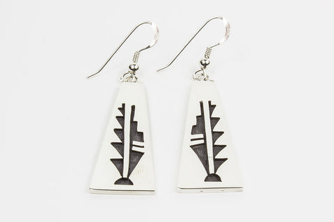 Hopi Overlay Prayer Feather Drop Earrings by Floyd Lomakuyvaya - Turquoise Village - 1