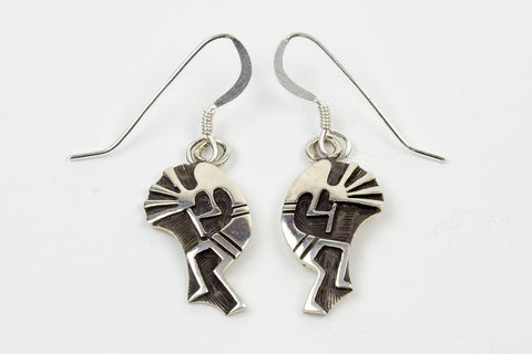 Hopi Sterling Silver Overlay Kokopelli Drop Earrings by Loren Qumawunu - Turquoise Village - 1