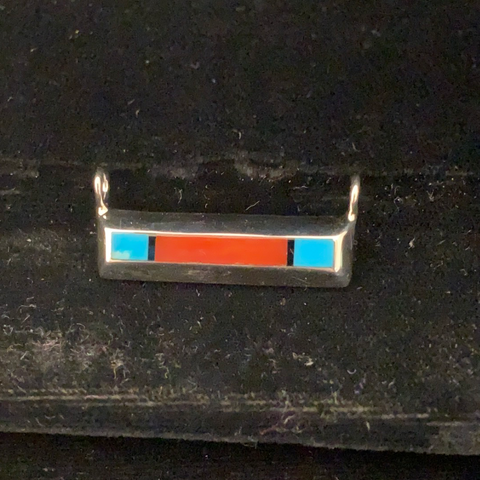 Turquoise, coral and jet bar pendant