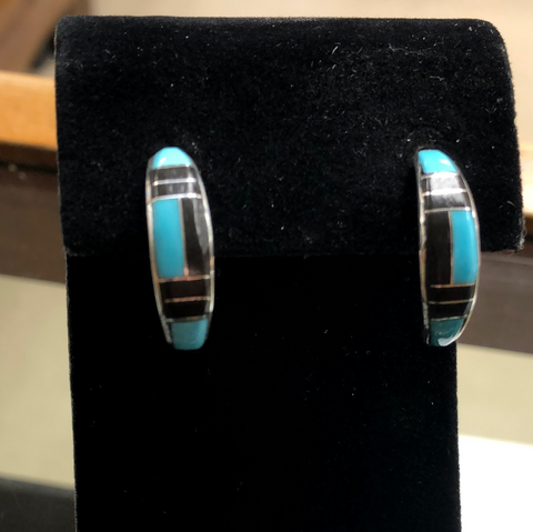 Turquoise and black jet half-hoop earrings