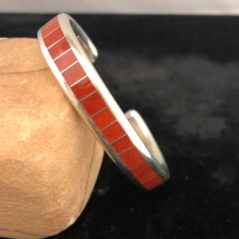 Sterling silver and coral channel inlay bracelet