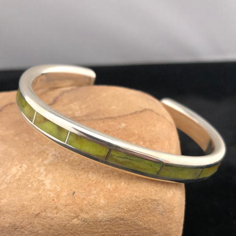 Sterling silver and gaspeite channel inlay bracelet