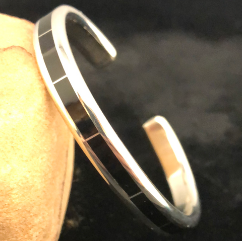 Sterling silver and jet channel inlay bracelet
