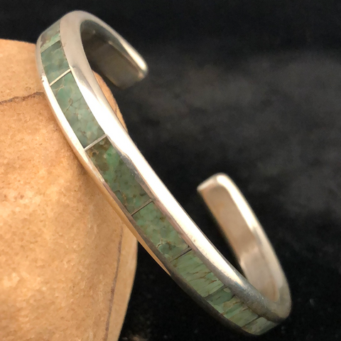Sterling silver and green turquoise channel inlay bracelet
