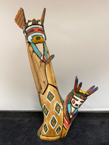 Father and mother Apache kachina carving