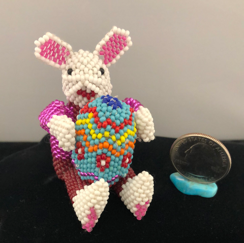 Easter bunny beaded doll