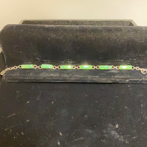 Green opal channel inlay link bracelet
