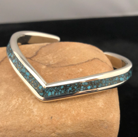 Sterling silver and webbed turquoise bracelet