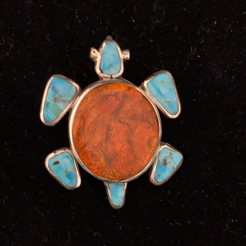 Apple coral and turquoise turtle pin/pendant