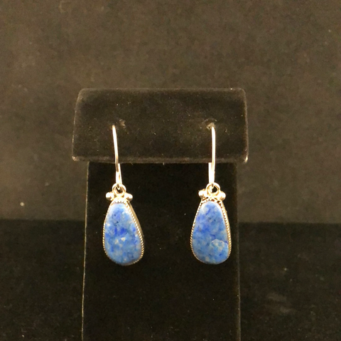 Denim lapis drop earrings by Diane Lonjose