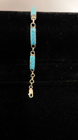 Turquoise channel inlay link bracelet