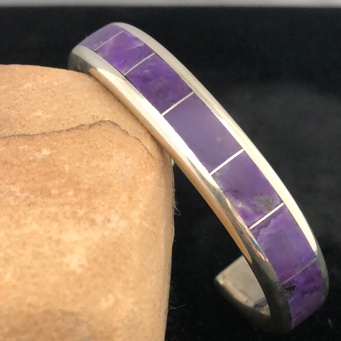 Sterling silver and charoite channel inlay bracelet