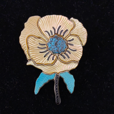 Gold mother of pearl flower pin/pendant