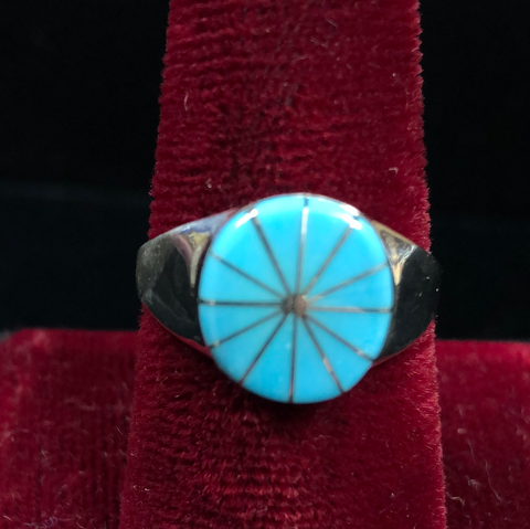Turquoise and silver channel inlay ring