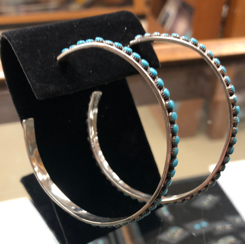 Silver and turquoise hoop earrings