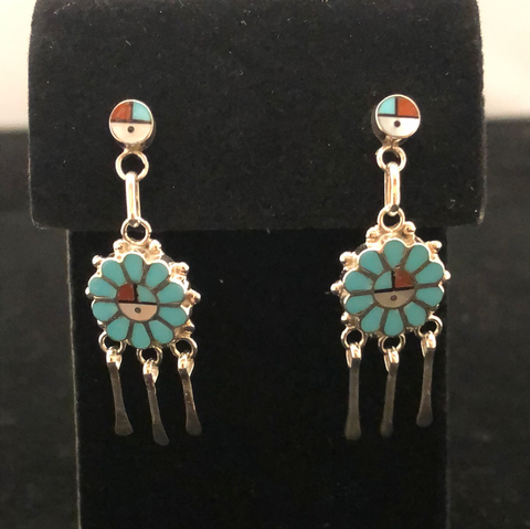 Mini Sunface dangle earrings by Maxine Soseeah