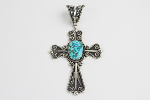 Navajo Turquoise and Sterling Silver Cross Pendant by Rick Martinez - Turquoise Village - 1