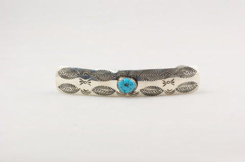 Navajo Stamped Sterling and Turquoise Hair Clip by Joanne Silver - Turquoise Village