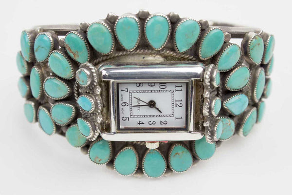 Marbled Turquoise Clusterwork Navajo Watch Turquoise Village