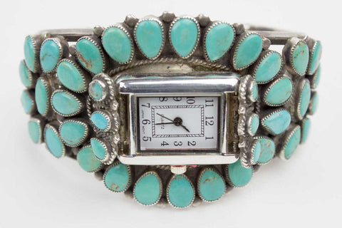 Marbled Turquoise Clusterwork Navajo Watch - Turquoise Village - 1