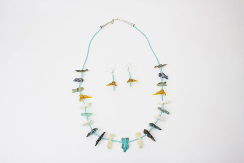 Zuni Multistone Fetish Necklace and Earring Set by Lena Boone - Turquoise Village - 1
