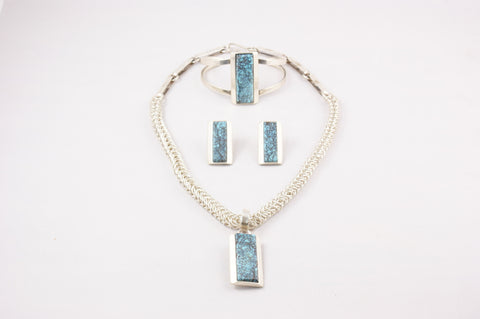 Zuni Turquoise Geometric Necklace, Bracelet & Earring Set by Ric Laselute - Turquoise Village