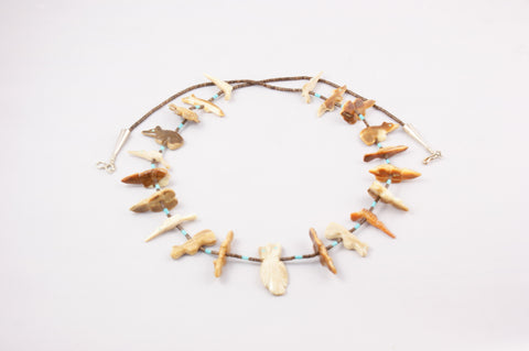 Zuni Fossilized Ivory Fetish Necklace by Lena Boone - Turquoise Village - 1